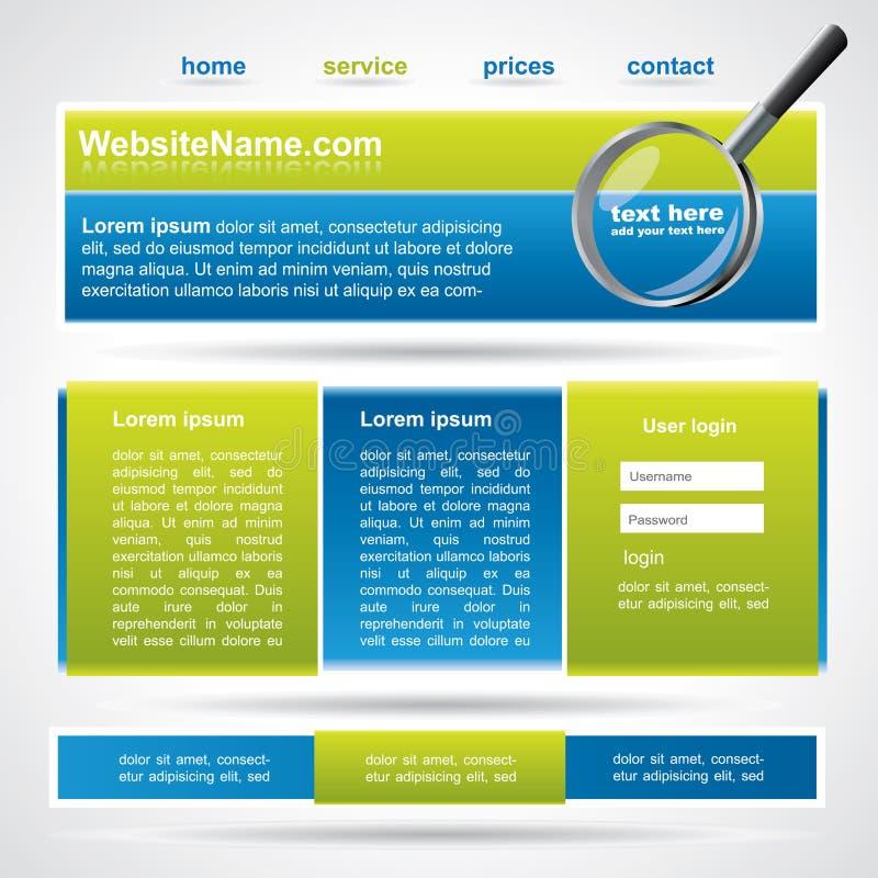 Cores Editable do molde do Web site, as azuis e as verdes ilustração royalty free
