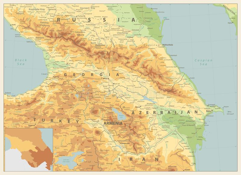 Cores retros do mapa físico de Cáucaso ilustração do vetor