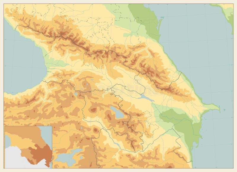 Cores retros do mapa físico de Cáucaso NENHUM texto ilustração do vetor
