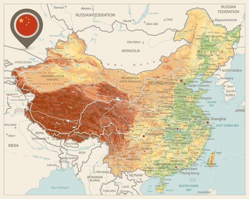 Cores retros do mapa físico de China ilustração stock