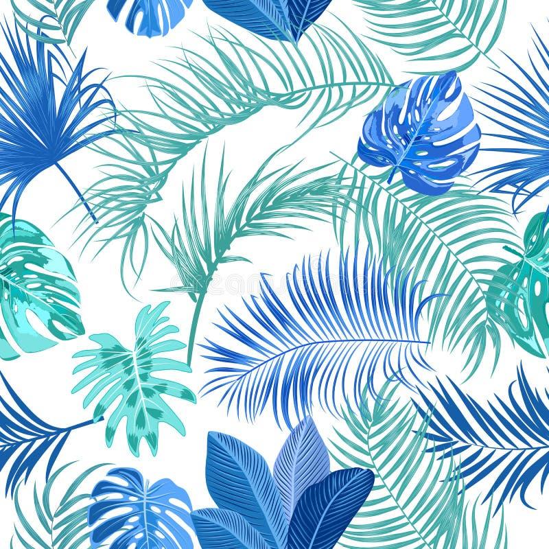 Cores sem emenda do teste padrão do vetor tropical das folhas de palmeira da selva, as azuis e as verdes ilustração stock