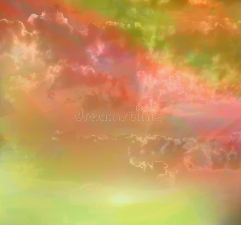 cores surpreendentes do arco-íris do céu. ilustração stock