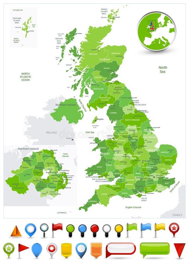 Cores verdes do ponto do mapa de Grâ Bretanha e ícones lustrosos ilustração royalty free