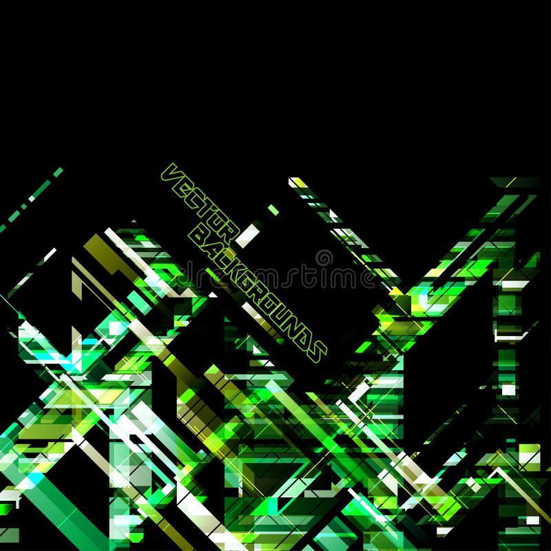 Cores verdes geométricas do sumário em uma cena preta ilustração do vetor