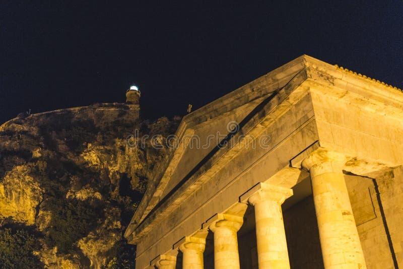 Corfà ¹镇在夜之前 库存照片