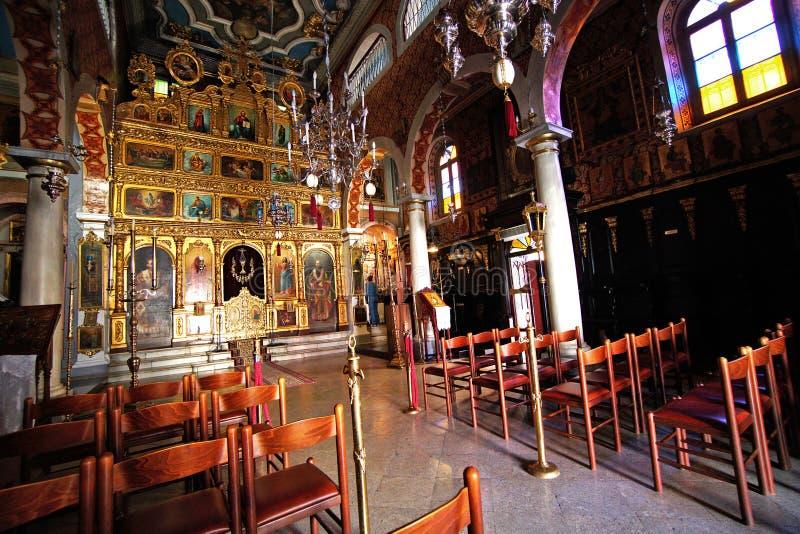Corfú, Grecia, el 18 de octubre de 2018, detalles de una pequeña iglesia ortodoxa en el centro de la ciudad foto de archivo libre de regalías