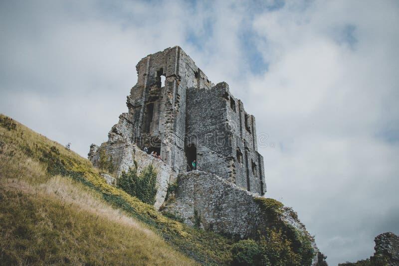 Corfe城堡,多西特,英国 免版税图库摄影