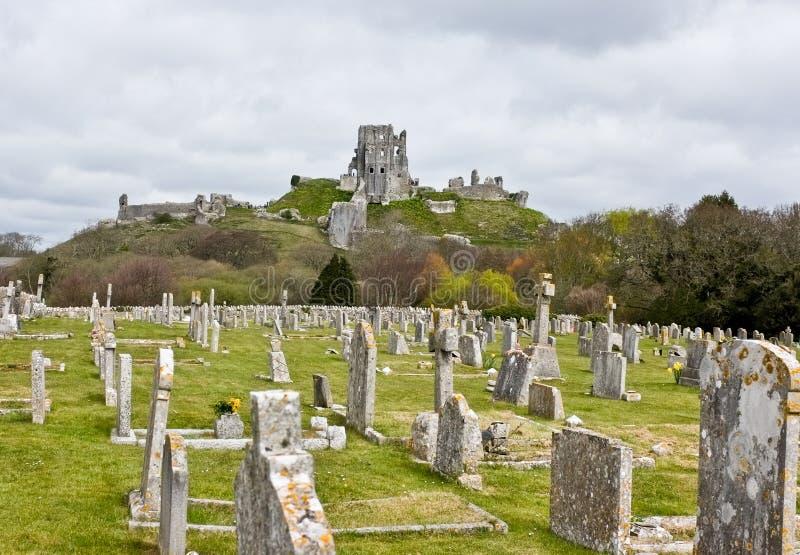 Corfe城堡&坟园,多西特 图库摄影