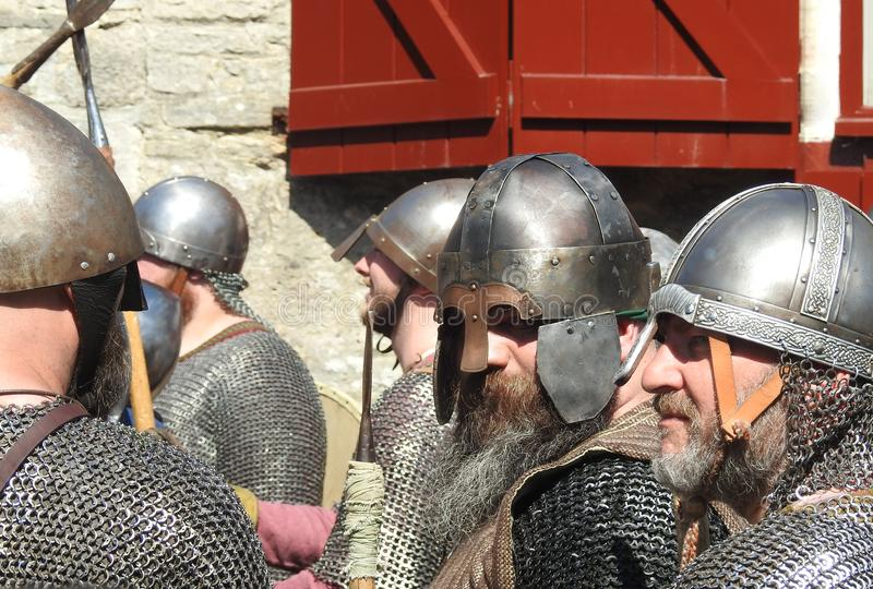 Corfe Castle, Corfe, Dorset UK. May 2018. Vikings versus Saxons reenactment battle of the siege of Wareham AD 878. Participants in the event `Saxons and Vikings royalty free stock photos