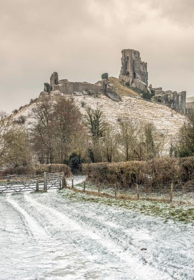 Corfe Castle in Dorset during a winters snowy morning stock photo