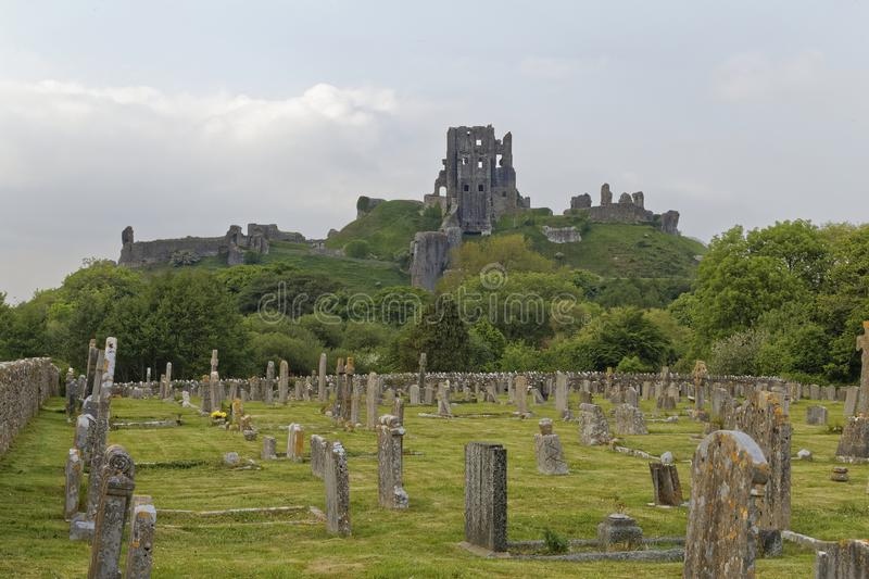 Corfe Castle graveyard royalty free stock photography