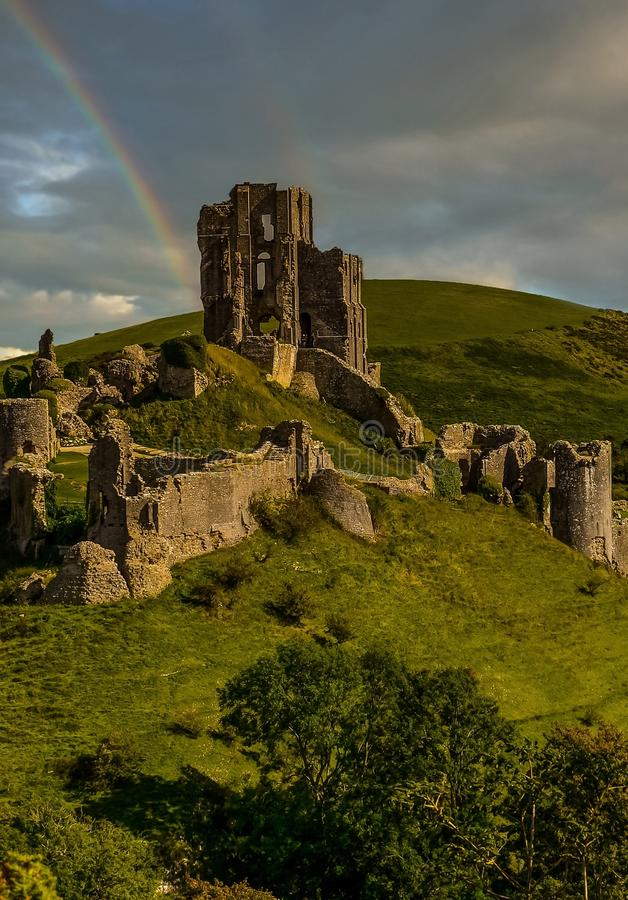 Corfe castle rainbow royalty free stock photos