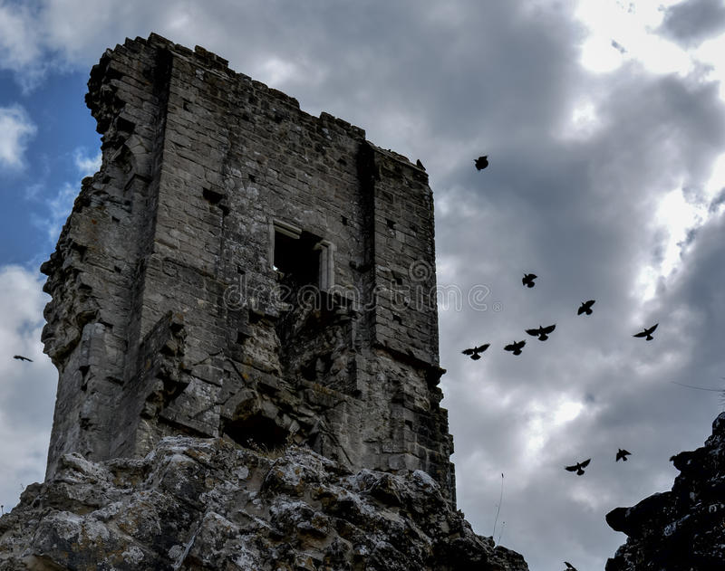 Corfe Castle. The Corfe Castle ruins photographed early afternoon in Aug 2014 stock photography