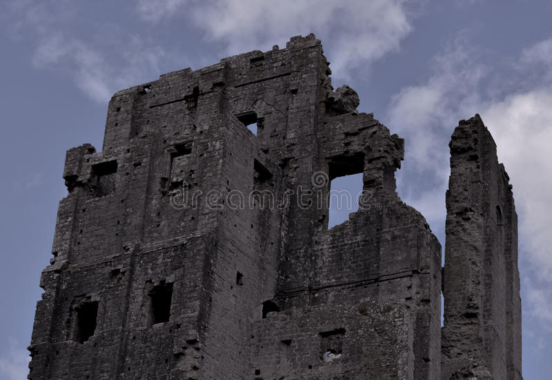 Corfe Castle. The Corfe Castle ruins photographed early afternoon in Aug 2014 stock photos