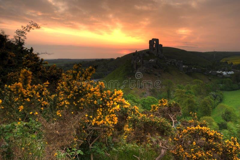 corfe grodowy wschód słońca zdjęcie royalty free