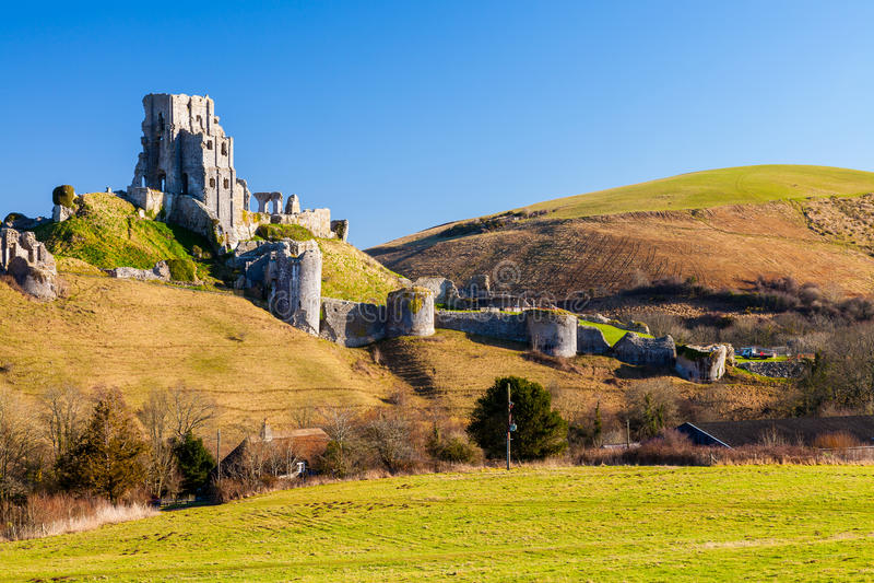 Corfe kasztel Dorset Anglia fotografia stock