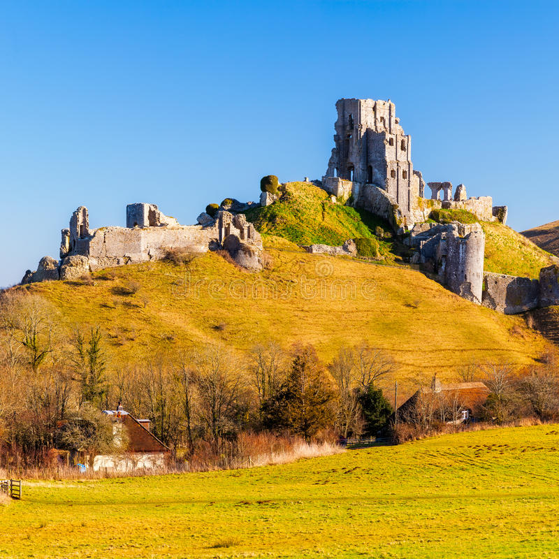 Corfe kasztel Dorset Anglia obraz stock