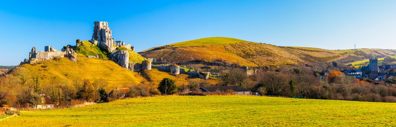 Corfe kasztel Dorset Anglia zdjęcia royalty free