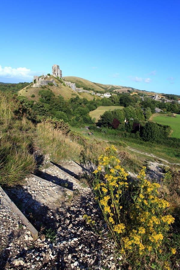 Corfe-Schloss Dorset lizenzfreies stockbild