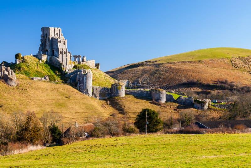 Corfe-Schloss Dorset England stockfotografie