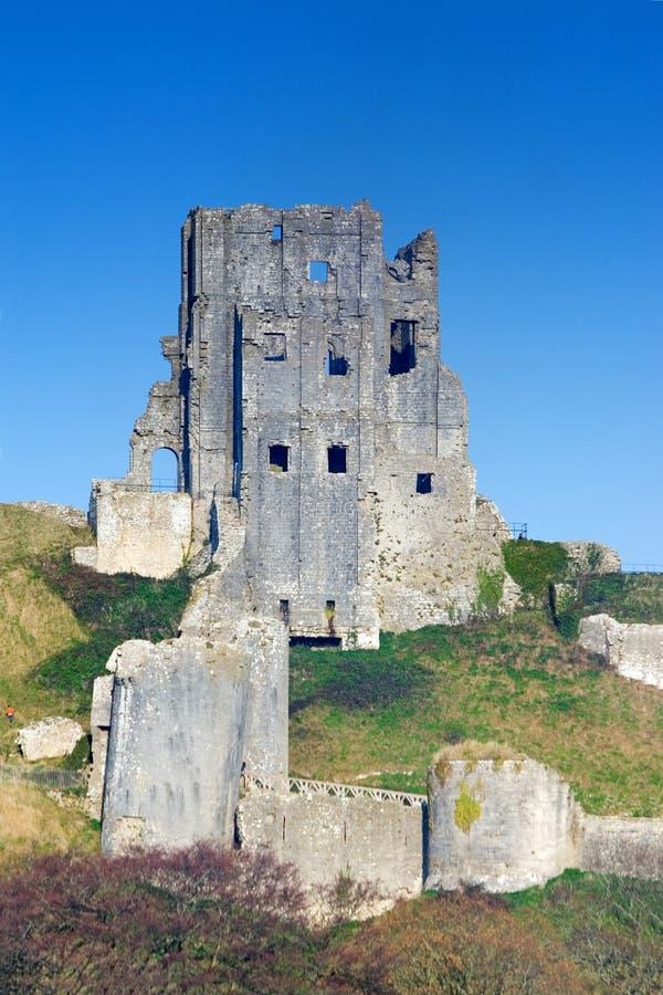 Corfe Schloss, in Swanage, Dorset, Südengland stockbild
