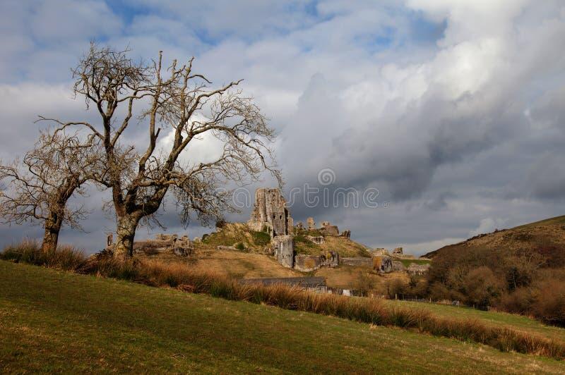 Corfe Schloss stockbild