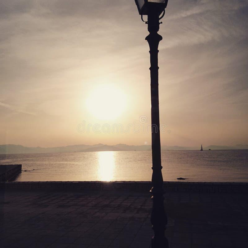 Corfou solnedgång arkivbilder