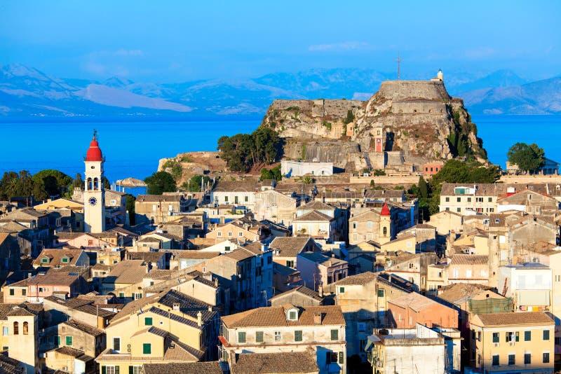 Corfu市,希腊鸟瞰图  库存图片