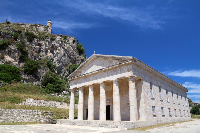 Corfu - świętego George świątynia zdjęcie stock
