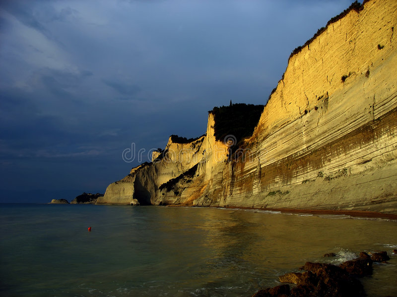 Download Corfu cliffs 2 stock photo. Image of clouds, trees, blue - 2112336