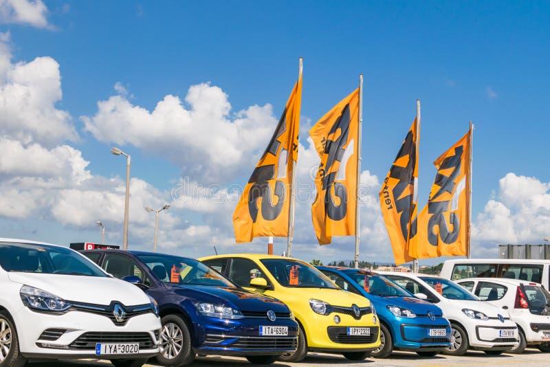 Corfu Grecja, Lipiec, -, 2018: Sixt czynsz samochodowy parking przy lotniskiem obrazy stock