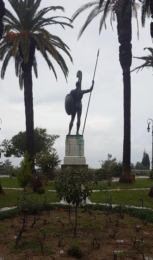 CORFU, GRECJA Styczeń 21, 2018: Statua Achilles w Achilleion pałac imperatorowa Austria Elisabeth Bavaria w Corfu islan obrazy stock