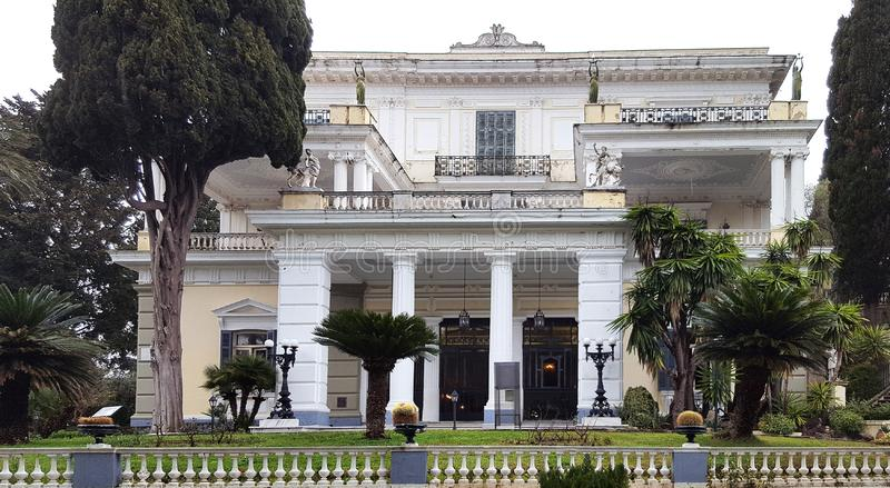 Achilleion palace of Empress of Austria Elisabeth of Bavaria in Corfu island, Greece. CORFU, GREECE- January 21, 2018: Achilleion palace of Empress of Austria stock image
