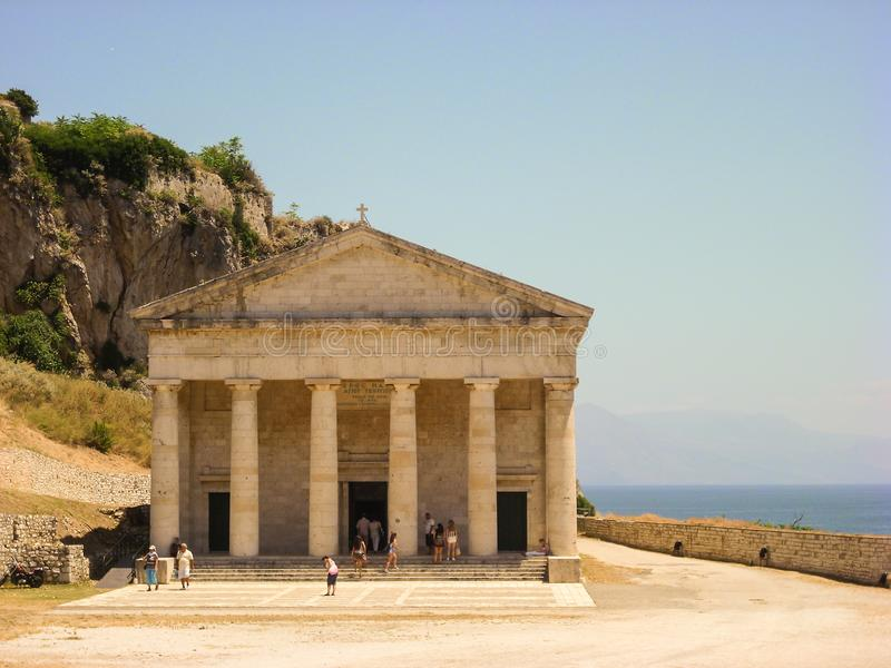 Corfu, Greece - June 09 2013 : tourist visiting St. George`s church located inside the Old Venetian fortress in Kerkyra Town. Corfu, Greece - June 09 2013 royalty free stock photo