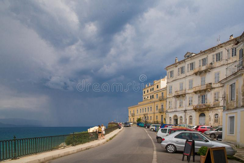 Corfu island city, alleys houses buildings , Greece stock photos