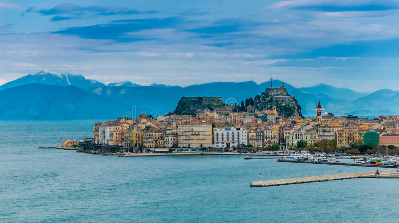 Corfu island. A landscape of Corfu island with the mountains in background stock images