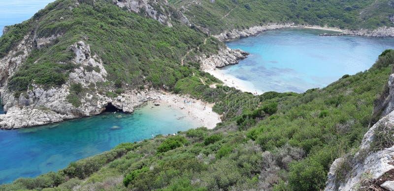 Corfu, Porto Timoni Afionas Beach. The best beaches in corfu, gardenos beach corfu, marathias beach, paradise beach corfu, corfu is known for Cape Drastis with stock images