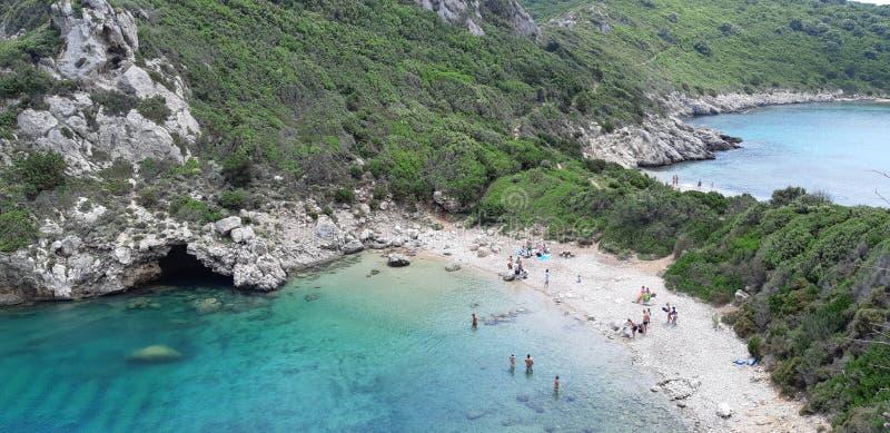 Corfu, Porto Timoni Afionas Beach. The best beaches in corfu, gardenos beach corfu, marathias beach, paradise beach corfu, corfu is known for Cape Drastis with royalty free stock image