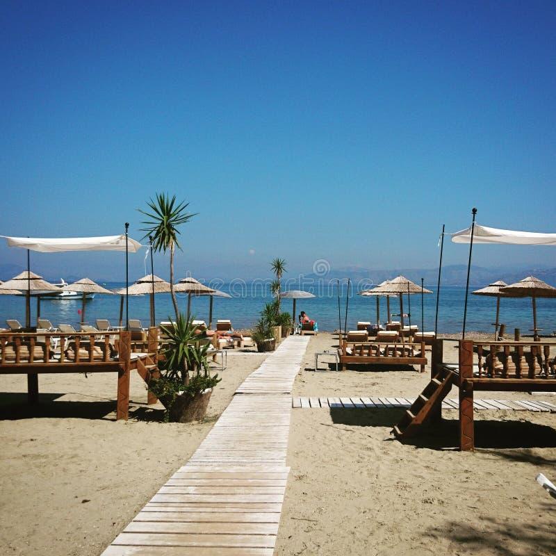 Corfu& x27; s plaża obraz royalty free