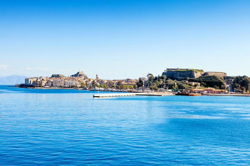 Download Corfu town from the sea stock photo. Image of landmark - 39505462