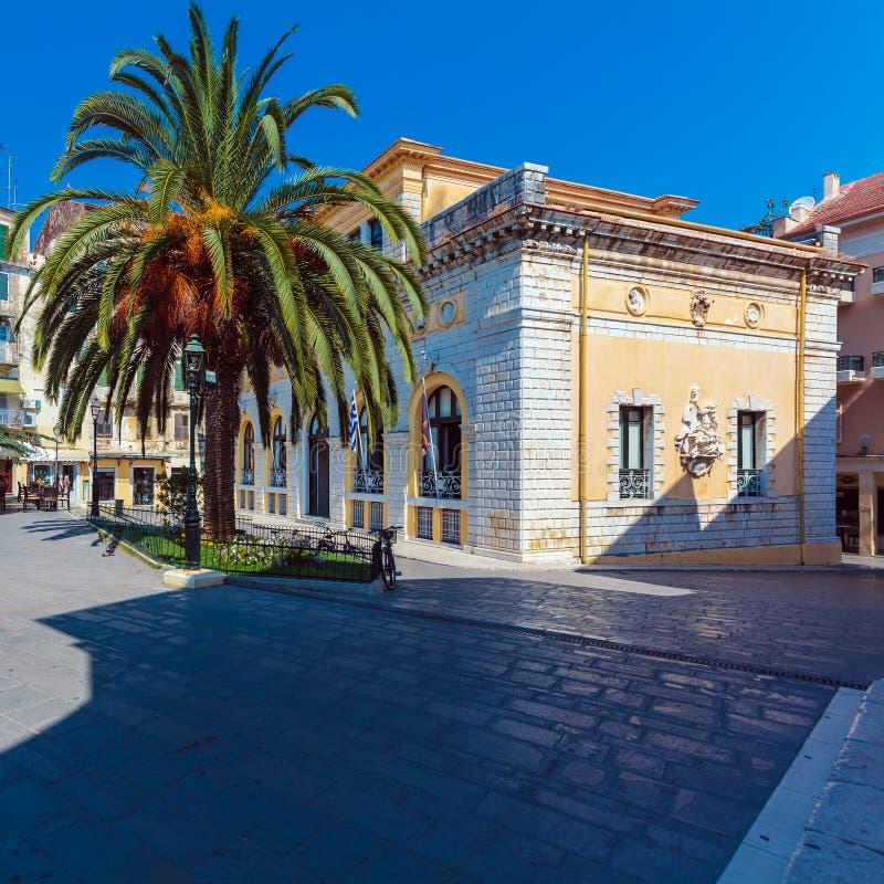 Corfu urząd miasta (poprzednio: Nobile Teatro Di San Giacomo di Cor zdjęcia royalty free