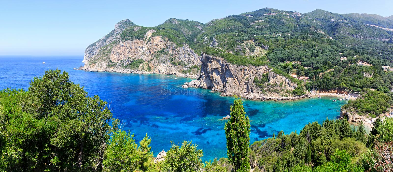 Corfu wyspa i Ionian morze obraz stock