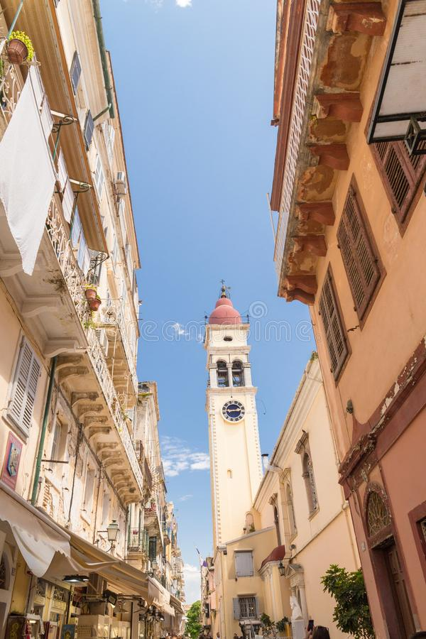 Corfu wyspy Greece st Spiridonas cental kościół w mieście Corfu zdjęcia stock