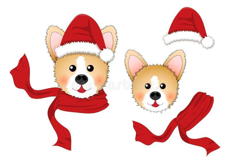 Corgi Санта Клаус, шляпа Санты, красный шарф изолированный на белой предпосылке также вектор иллюстрации притяжки corel бесплатная иллюстрация