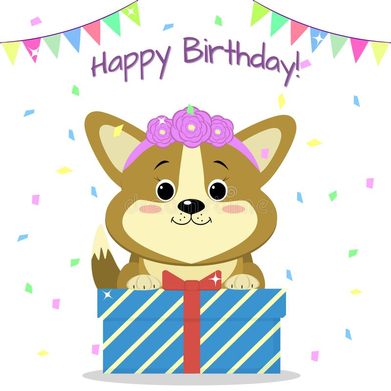 Corgi щенка с оправой роз сидит и держит коробка с подарком на предпосылке confetti и сигнализирует день рождения счастливый иллюстрация штока
