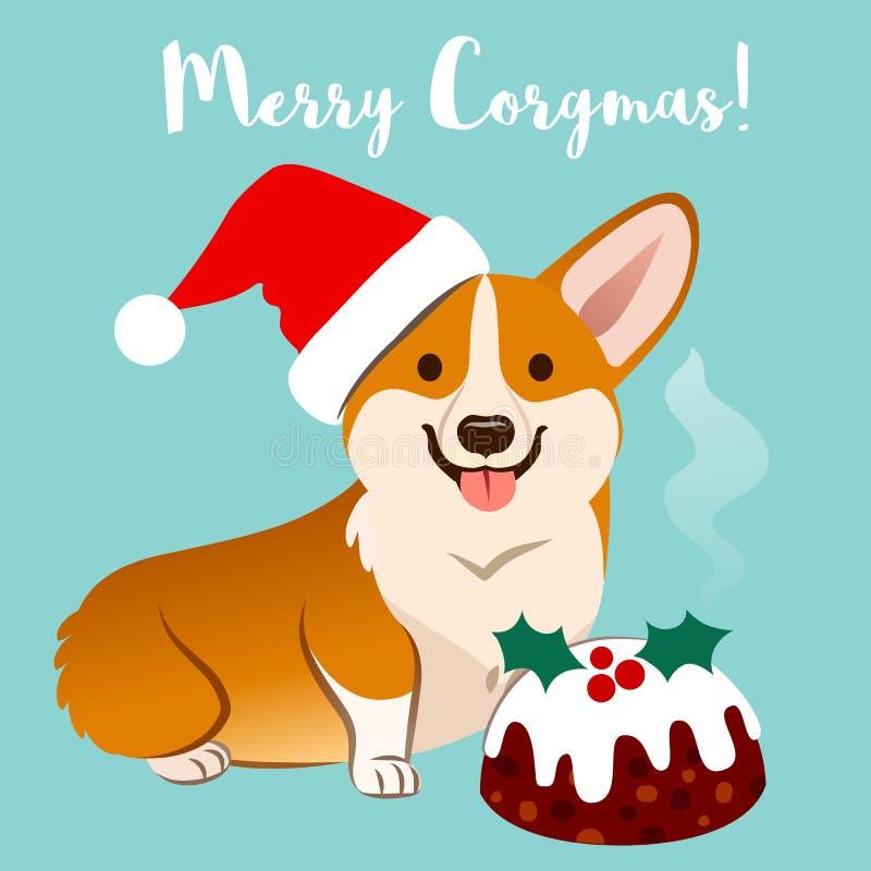 Corgi dog in Christmas Santa hat with fruitcake vector cartoon i. Llustration isolated of aqua, caption `Merry Corgmas`. Funny humorous pet lovers, Christmas vector illustration