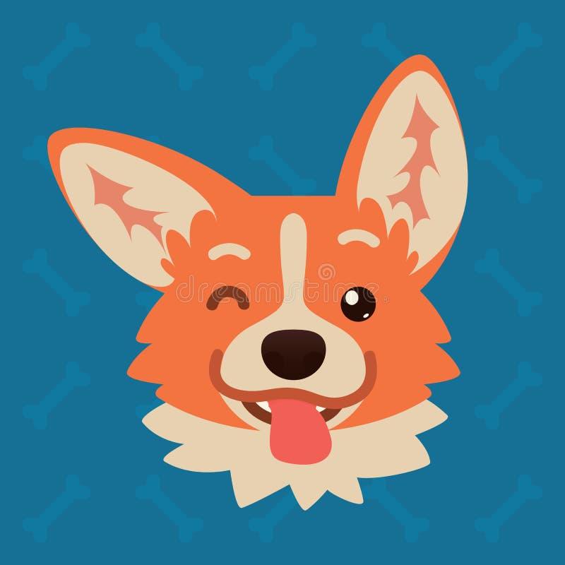 Corgi dog emotional head. Vector illustration of cute dog in flat style shows playful emotion. Blinking emoji. Smiley. Icon. Chat, communication, print, sticker stock illustration
