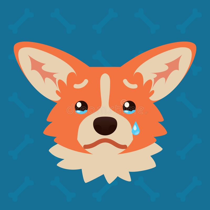 Corgi dog emotional head. Vector illustration of cute dog in flat style shows sad emotion. Crying emoji. Smiley icon stock illustration