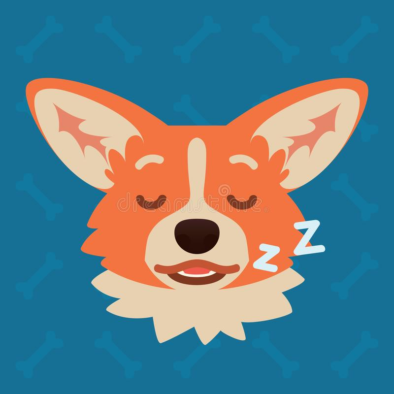 Corgi dog emotional head. Vector illustration of cute dog in flat style shows sleepy emotion. Dream emoji. Smiley icon royalty free illustration