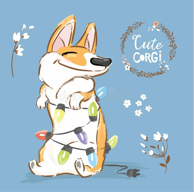 Corgi Dog Play Christmas Garland Vector Poster. Happy Fox Pet Character New Year Illustration Series with Flower. Little stock illustration